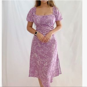 Floral Square Neck, Split Thigh, puff sleeve Dress